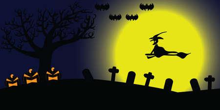 night background: Halloween night background, Full moon Illustration