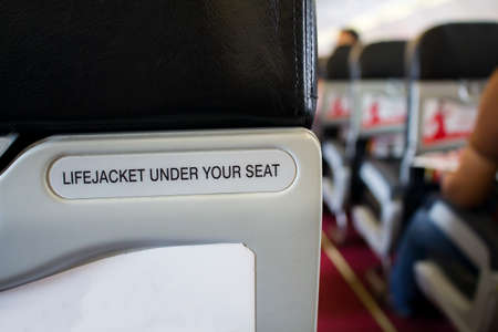 life jacket under your seat sign, safety, emergency