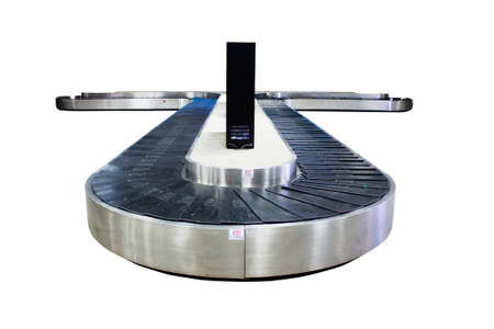 baggage carousel at the airport on white background, clipping path, soft focus