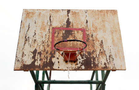 backboard: basketball iron board, backboard, dirty, grunge, old on white background, isolated Stock Photo