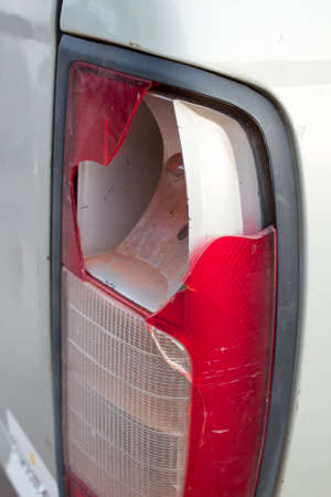 tail light: Car tail light has broken from accident