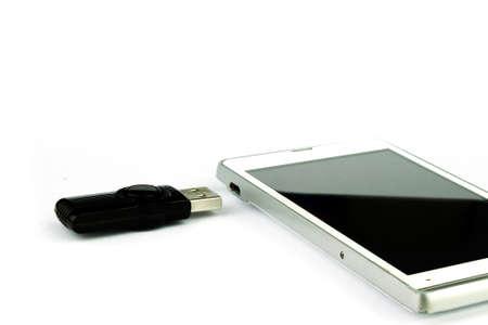 micro drive: usb flash drive can use smartphone Stock Photo