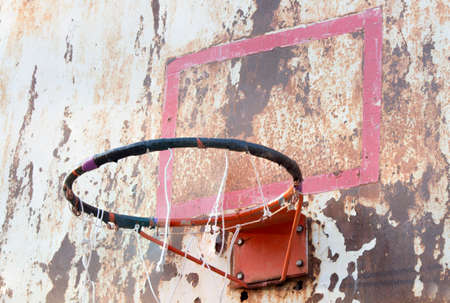 play the old park: basketball iron board, backboard, dirty, grunge, old