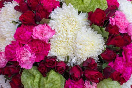 mixed marriage: Chrysanthemum and roses in wedding day, flower background
