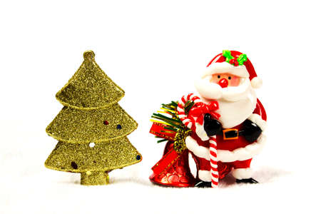 chirstmas: Chirstmas tree, bell, santa claus on white background