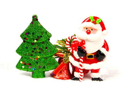 chirstmas: Chirstmas tree, bell, santa claus on white background