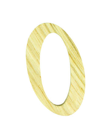 numeric: Single wooden 0 numeric on white background, isolated, clipping path