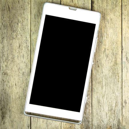 smart: smart phone on wood background Stock Photo