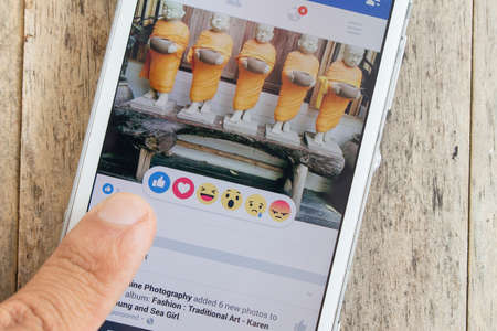 smile icon: BUNG KAN, THAILAND - MARCH 22, 2016: Facebook has new reaction for like