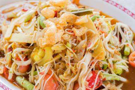 tam: papaya salad Thailands food called Som Tam, Close up, soft focus