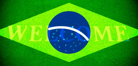 brazil flag with text WELCOME, vignette added Stock Photo