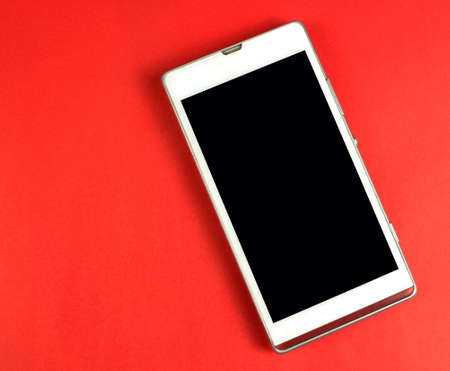 smart phone display empty screen on red background