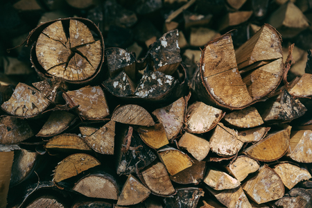 chipped firewood close-up