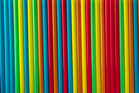 Colorful corrugated plastic arrange in row