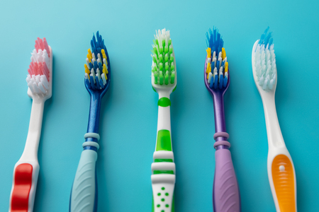 Toothbrushes in different colors
