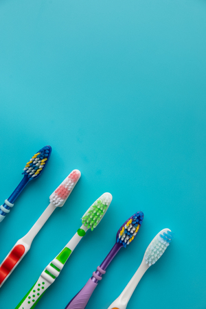 family Toothbrushes in many colors Stock Photo