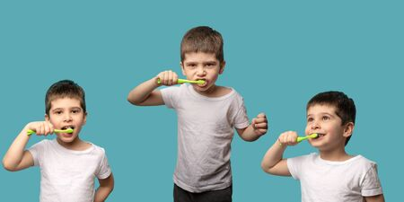 collage brushing your teeth. the child brushes his teeth on a blue background. triptych with three variants of the pose