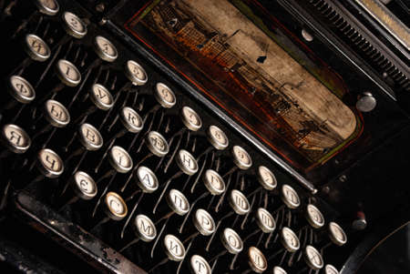 Details of an old retro typewriter, vintage style