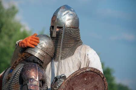 Knights in armor. Tournament festival, reconciliation Stok Fotoğraf