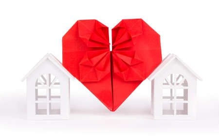 Neighborhood and love. Home and love symbol on white background
