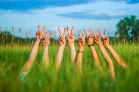 Row of hands of young people making peace or victory gesture or V sign with index and middle fingers on green grass natural background. Many arms raised together with two fingers up.