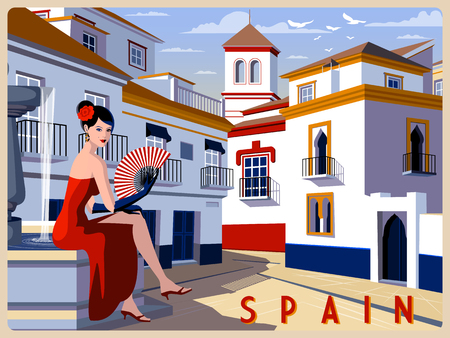 Summer day in small town, Andalusia, Spain. Handmade drawing vector illustration. Retro style. Stock Illustratie