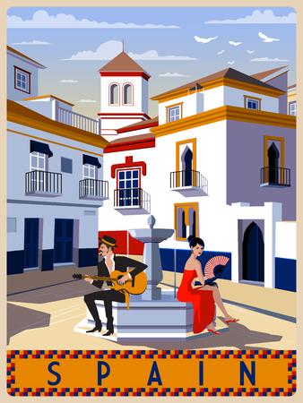 Summer day in small town, Andalusia, Spain. Handmade drawing vector illustration. Retro style.  イラスト・ベクター素材