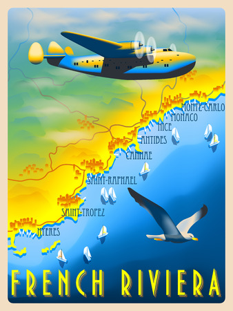 Flight over the French Riviera. Retro poster. Handmade drawing vector illustration