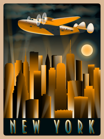 Airplane in the sky over New York at night. Handmade drawing vector illustration. Art Deco Style. Vectores