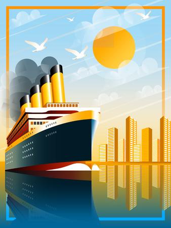 Art Deco-schip vectorillustratie. Passagiersvoering in oceaan. Illustratie van vakantie en cruise. Handgemaakte tekening vector illustratie. Stockfoto - 97655134