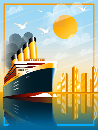 Art Deco ship vector illustration. Passenger liner in ocean. Illustration of vacation and cruise. Handmade drawing vector illustration. Banco de Imagens - 97655134