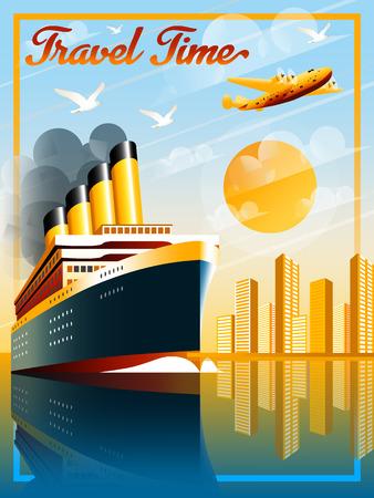 Art Deco ship vector illustration. Passenger liner in ocean. Illustration of vacation and cruise. Handmade drawing vector illustration