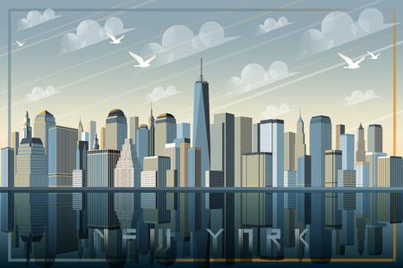 View of New York Handmade drawing vector illustration.