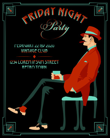 Gentleman with a glass of whiskey and a cigar. Retro Party invitation card. Handmade drawing vector illustration. Art Deco style.  イラスト・ベクター素材
