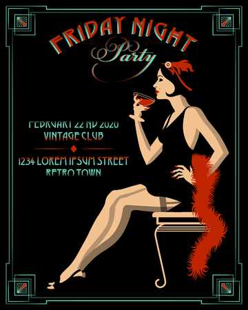 Flapper girl with wineglass. Retro Party invitation card. Handmade drawing vector illustration. Art Deco style