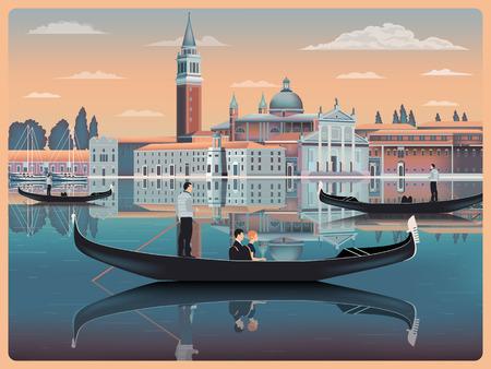 Mattina presto a Venezia, Italia. Modello di viaggio o cartolina postale. Tutti gli edifici sono oggetti diversi. Disegno a mano illustrazione vettoriale. Stile vintage. Archivio Fotografico - 97496117