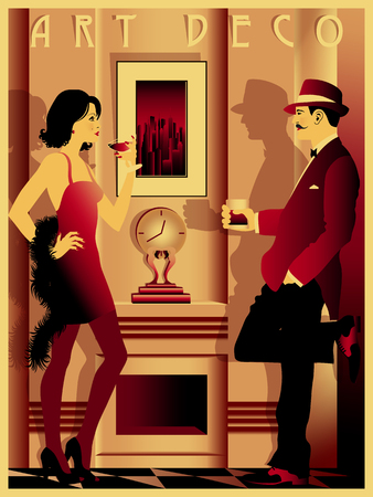 Couple in restaurant in the style of the early 20th century. Retro party invitation card. Handmade drawing vector illustration. Art Deco style. Ilustração