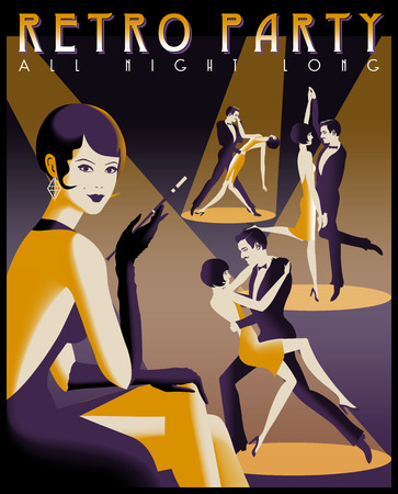Retro Party invitation card. Handmade drawing vector illustration. Art Deco style