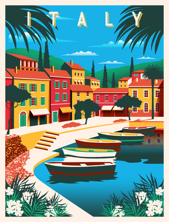 Sunny summer day in Italy. Handmade drawing vector illustration. All buildings - customizable different objects. Can be used for posters, banners, postcards, books Illustration