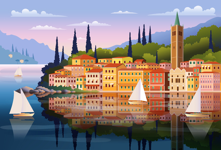 Mediterranean romantic landscape. Handmade drawing vector illustration. Can be used for posters, banners, postcards, books