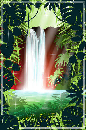 Waterfall in the rainforest. Handmade drawing vector illustration. Ilustrace