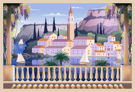 Mediterranean romantic landscape. Handmade drawing vector illustration. All buildings - customizable different objects. Can be used for posters, banners, postcards, books