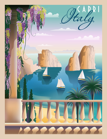 Sunny summer day in Italy. Handmade drawing vector illustration. Art deco style. Can be used for posters, banners, postcards, books 일러스트