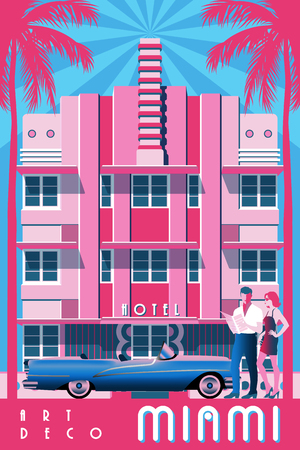 Sunny day in Miami, USA. Handmade drawing vector illustration. Art deco style. 向量圖像