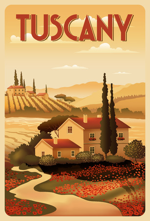 Summer Day in Tuscany, Italy. Handmade drawing vector illustration.