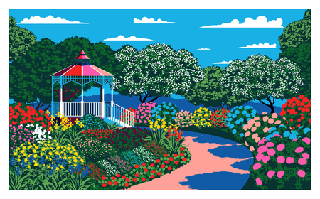 Sunny day in the garden near the pavilion. Handmade drawing vector. Vintage pop art style.