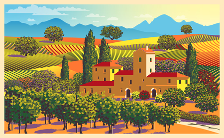 Rural landscape overlooking a farmhouse, vineyard, fields and hills in Tuscany, Italy. Handmade drawing vector illustration. All objects are divided into layers. Poster in flat design