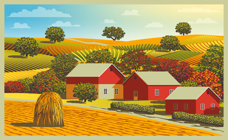 Rural autumn landscape with farm, fields and trees in the background. Handmade drawing vector illustration. Flat design.