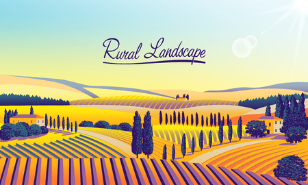 Rural landscape with farms, meadows, fields, trees and forests in the background. Handmade drawing illustration. Flat design.