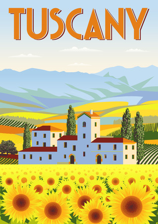 Summer day in Tuscany, Italy. Handmade drawing. Travel poster in the art deco style Çizim